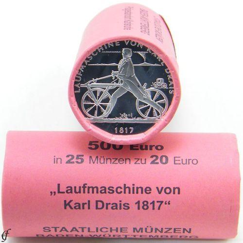 Roll Germany 20 Euro 2017 Unc Laufmaschine Eurofischer