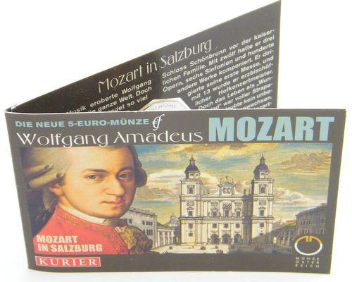 österreich 5 Euro 2006 Mozart Silber Im Miniblister Eurofischer