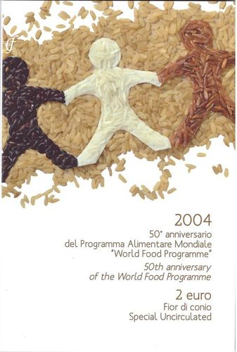 2 Euro Blister Coincard Italy 2004 World Food Programme Eurofischer