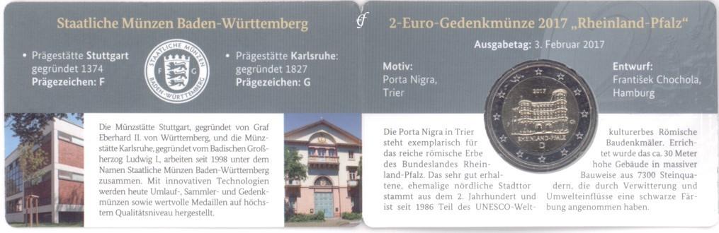 2 Euro Coincard Deutschland 2017 F Stuttgart Eurofischer