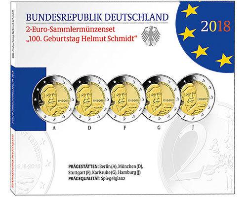 2 euro gedenkm nzen set deutschland 2018 helmut schmidt pp. Black Bedroom Furniture Sets. Home Design Ideas