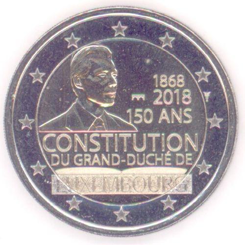 2 Euro Gedenkmünze Luxemburg 2018 Verfassung Neues Münzzeichen