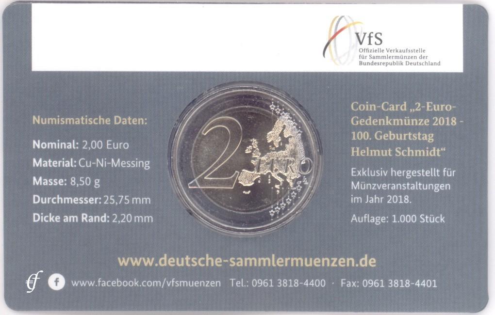 2 euro coincard deutschland 2018 j helmut schmidt. Black Bedroom Furniture Sets. Home Design Ideas