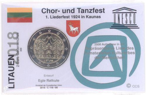 2 Euro Coincard Infokarte Litauen 2018 Gesang Und Tanzfestival