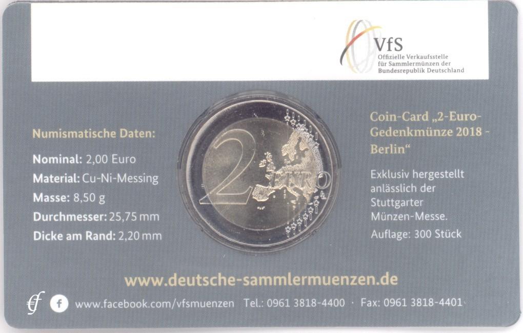 2 Euro Coincard Deutschland 2018 F Stuttgart Eurofischer