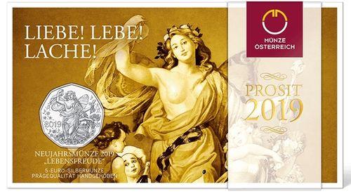 österreich 5 Euro 2019 Lebensfreude Im Folder Eurofischer