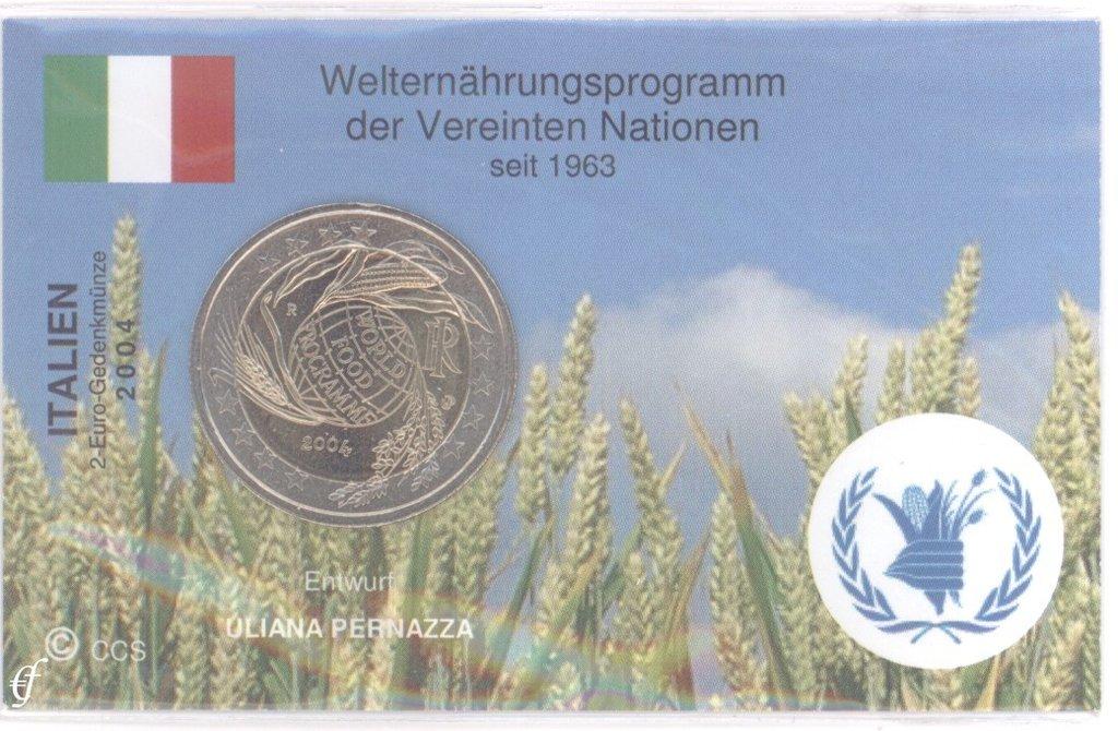 2 Euro Coincard Infocard Italy 2004 World Food Programme Eurofischer