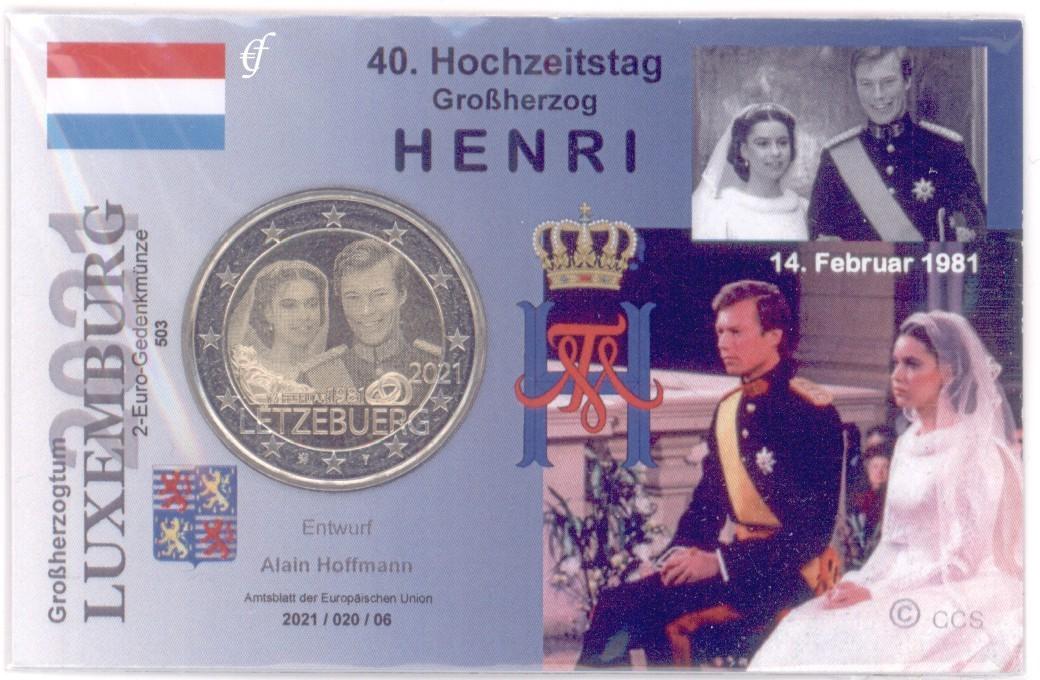 2 Euro Coincard / Infokarte Luxemburg 2021 40 ...